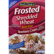 Best Choice Cereal, Shredded Wheat, Strawberry Cream, Frosted, Bite Size