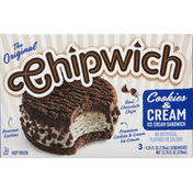 Chipwich Ice Cream Sandwich, Cookies & Cream, 3 Pack