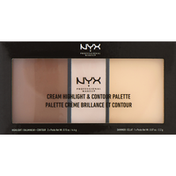 NYX Professional Makeup Cream Highlight & Contour Palette, Light CHCP01