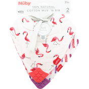 Nûby Muslin Bib, Cotton, 2 Pack