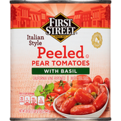 First Street Pear Tomatoes with Basil, Peeled, Italian Style