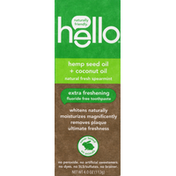hello Toothpaste, Fluoride Free, Natural Free Toothpaste, Hemp Seed Oil + Coconut, Extra Refreshing