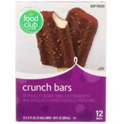 Food Club Vanilla Ice Cream Crunch Bars With Milk Chocolate Flavored Coating & Crisped Rice