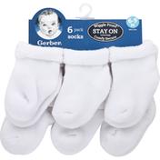 Gerber Socks, 6-9 Months, 6 Pack
