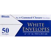 Bazic Envelopes, White, Gummed Closure