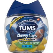 Tums Antacid, Calcium Carbonate, Extra Strength 750, Lemon & Blueberry, Chewable Tablets