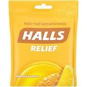 Halls Relief Honey Lemon Cough Suppressant/Oral Anesthetic Menthol Drops