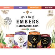 Flying Embers Hard Kombucha, Variety Pack, 12 Pack