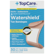 TopCare Watershield, Sterile Antibacterial Waterproof First Aid Antiseptic All One Size Bandages, Tan