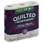 Quilted Northern Bathroom Tissue, Unscented, Double Rolls, Ultra Plush, 3-Ply