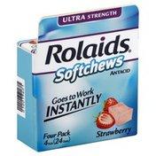 Rolaids Antacid, Ultra Strength, Softchews, Strawberry, Four Pack