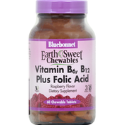 Bluebonnet Vitamin B6, B12 + Folic Acid, Raspberry, Tablets
