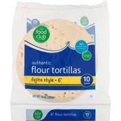Food Club Flour Tortillas, Authentic, Fajita Style, 6 Inch