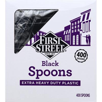 First Street Spoons, Black, Extra Heavy Duty Plastic