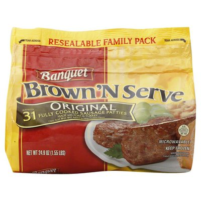 Banquet Sausage Patties, Fully Cooked, Original, Family Pack