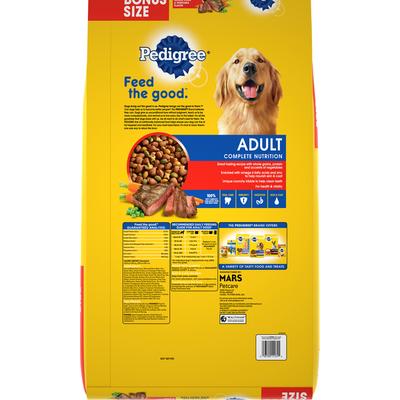 Pedigree Food for Adult Dogs, Grilled Steak & Vegetable Flavor, Complete Nutrition, Bonus Size