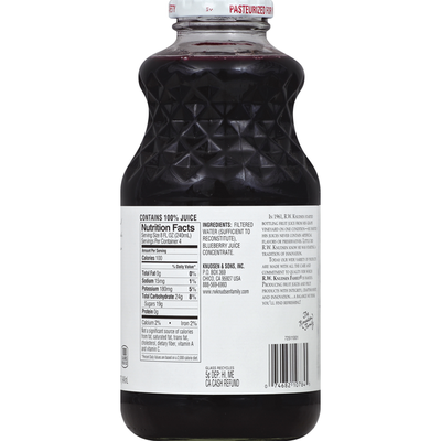 RW Knudsen 100% Juice, Premium, Just Blueberry