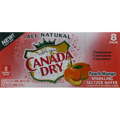 Canada Dry Sparkling Water, Seltzer, Peach Mango, 8 Pack