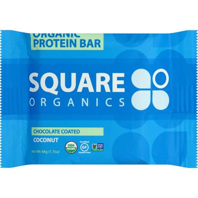 Square Organics Protein Bar, Organic, Chocolate Coated Coconut