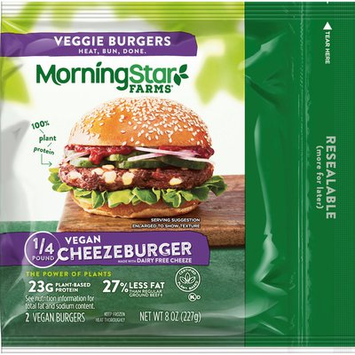 Morning Star Farms Veggie Burgers, Plant Based Protein Vegan Meat, Frozen Meal, Cheezeburger
