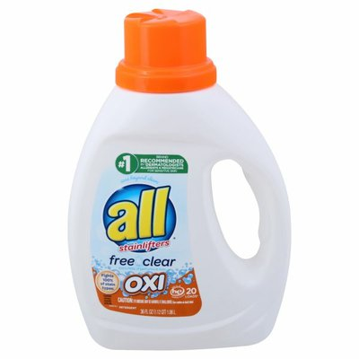 all Liquid Laundry Detergent with OXI Stain Removers and Whiteners, Free Clear, 20 Loads