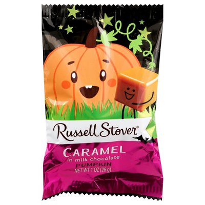 Russell Stover Caramel, In Milk Chocolate, Pumpkin, Wrapper