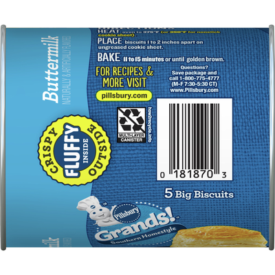 Pillsbury Grands! Southern Homestyle Buttermilk Biscuits, 5 Count