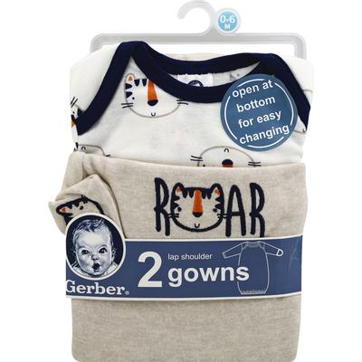 Gerber Gowns, Lap Shoulder, 0-6 Months