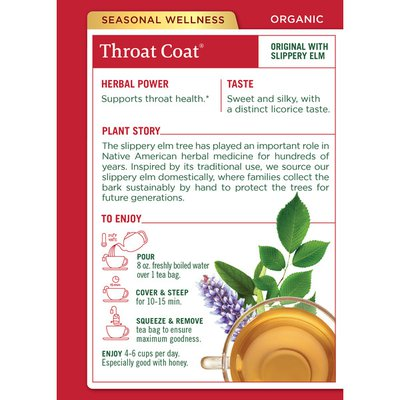 Traditional Medicinals Organic Throat Coat, Caffeine Free Herbal Tea