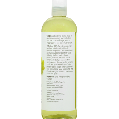 Now Grapeseed Oil, Sensitive Skin Care, 100% Pure