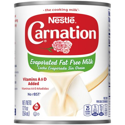 Carnation Nestle  Fat Free Evaporated Milk Vitamins A and D Added