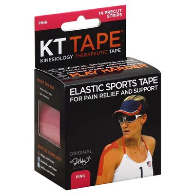 KT Tape Kinesiology Therapeutic Tape Precut Strips Pink - 14 CT