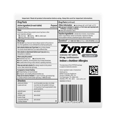 Zyrtec 24 Hour Allergy Relief Tablets with Cetirizine HCl
