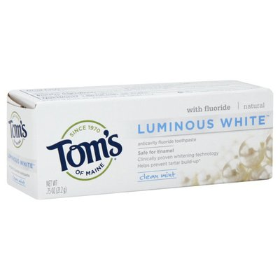 Tom's of Maine Toothpaste, Anticavity Fluoride, Luminous White, Clean Mint