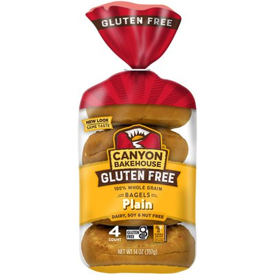Canyon Bakehouse Gluten Free Plain 100% Whole Grain Bagels