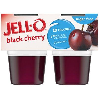 Jell-O Black Cherry Sugar Free Ready-to-Eat Jello Cups Gelatin Snack
