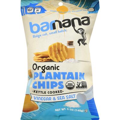 barnana Plantain Chips, Organic, Vinegar & Sea Salt, Kettle Cooked