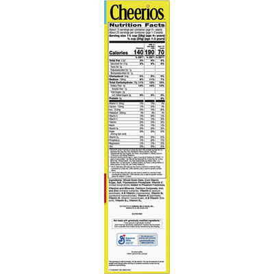 Cheerios Cereal, Whole Grain Oat, Toasted, Family Size