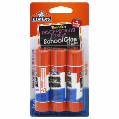 Elmer's Glue Sticks, School, Disappearing Purple