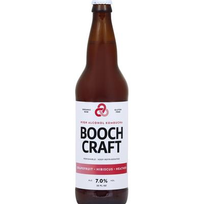 Booch Craft Kombucha, High Alcohol, Grapefruit + Hibiscus + Heather