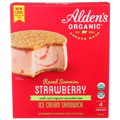 Alden's Organic Ice Cream Sandwich, Strawberry, Round Sammies