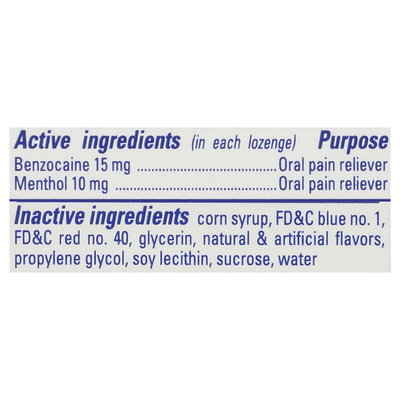 Chloraseptic Max Wild Berries Sore Throat Menthol Benzocaine Oral Pain Reliever Lozenges