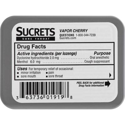 Sucrets Sore Throat & Cough, Lozenges, Vapor Cherry