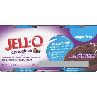 Jell-O Chocolate Sugar Free Ready-to-Eat Pudding Cups Snack