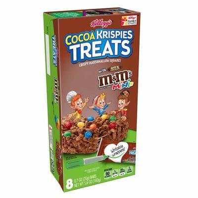Kellogg's Cocoa Krispies Treats Crispy Marshmallow Squares, Chocolate with M&Ms Minis
