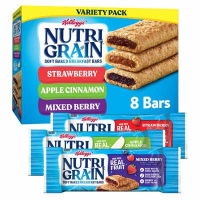 Kellogg's Nutri-Grain Soft Baked Breakfast Bars, Made with Real Fruit and Whole Grains, Kids Snacks, Variety Pack