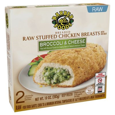 Barber Foods Stuffed Chicken Breasts, Raw, Breaded, Broccoli & Cheese