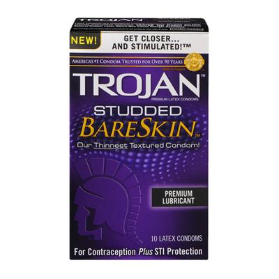Trojan Studded BareSkin Premium Lubricant Latex Condoms