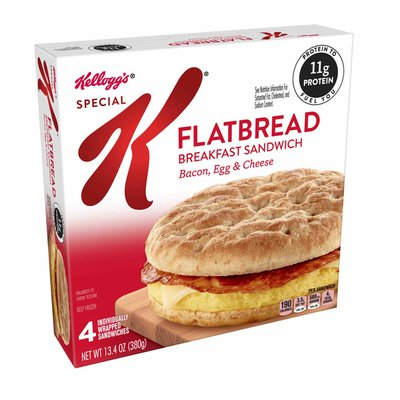 Kellogg's Special K Flatbread Breakfast Sandwiches Bacon, Egg, and Cheese
