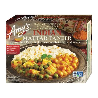 Amy's Frozen Indian Mattar Paneer, Non-GMO, Gluten free, 10 oz.